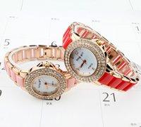 Wholesale Diamante Watches - 2015 NEW Fashion Women Wristwatches Luxury High-grade Ceramic Watch Diamante Ladies Quartz Watches Free Shipping