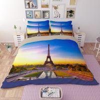 Wholesale Eiffel Tower Quilt Cover - CAH020- Multi-Choice 3D Print Eiffel Tower Duvet Bedding Cover Pillow Cases Quilt Cover Bed Set Queen Sizes Bedding Set Christmas