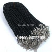 Wholesale Braided Cord Necklaces For Charms - Free shipping 50pcs 46cm Black Leather Braided Charm Woven Necklace Love For Bead lobster Clasp Cords H3810