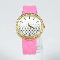 Wholesale Women Watch Leather Band - Simple Style Crystal Inlaid Dial Quart Watch Women Leather Band Watches Fashion Luxury Women's Wrist Watch Y50*MPJ745#M5