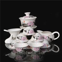 Wholesale-14pcs Chinesisches Porzellan Gongfu Set für Tee-Zeremonie 1 Ceramic Gaiwan 8 Bone China Tea Cups New 2015 Novelty Items Service Verkauf