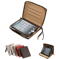 Wholesale Cases For Ipad Mini Zipper - Zipper Bag Business Tartan Leather Case Stand Wallet Bag Smart Cover With Card Slots For iPad 2 3 4 5 6 Air Air2 iPad5 Mini Mini2 Mini3