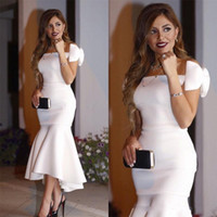 Wholesale modest cheap prom dresses - Arabic Short White Cocktail Dresses 2018 Off Shoulder Bow Mermaid Tea Length Modest Prom Party Evening Gowns Cheap Custom Made