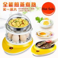 Wholesale Chicken Steamer - New Cute Electric Chicken 7 Holes Egg Kitchen Cooker Boiler Steamer Yellow Europe Plug Egg boiler egg poacher