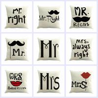 couvertures de moustaches achat en gros de-Carré M. et Mme Moustache Imprimé Oreiller Couvre Linge Taie d'oreiller Voiture Canapé Coussin taies d'oreiller Fournitures pour la maison 9 Conceptions YFA73