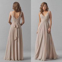 Wholesale Sexy Formal Long Dress - 2015 Fall Bridesmaids Formal Dresses Sexy Deep V Neck Elegant Long Sash A Line Backless Champagne Chiffon Bridesmaid Dress Floor Length