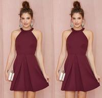 Wholesale Short Ruffle Dresses For Homecoming - Cheap Short Bridesmaid Dresses Homecoming Dresses burgundy Halter Short Prom Dresses for Junior Bridesmaid Dress 2016 Plus Size Dress J107
