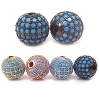 8mm 10mm 12mm Round Pave Beads, turquesa CZ Pave Ball Bead For Fashion Jewelry Fazendo Loose Metal Beads, 4Pcs