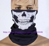 Wholesale Bikers Masks - DHL Free shipping 500pcs Skull Design Multi Function Bandana Ski Sport Motorcycle Biker Scarf Face Masks Outdoor Facial Mask Black Color