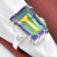 Cheap Wholesale 2pcs / lot Trapezoidal Mystic Topaz Gemstone .925 Sterling Silver Flower Ring México American Australia Weddings Jóias Gift