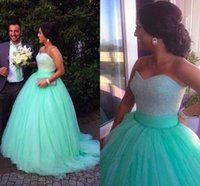 Wholesale Strapless Mint Prom Dress - Mint Green 2016 Quinceanera Dresses Full Beaded Crystal Ball Gown Prom Dresses With Sweetheart Sweep Train Tulle Party Gowns BO7513