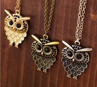 Wholesale Black Neclace - Vintage Women Owl Pendant Neclace Long Sweater Chain Jewelry Golden Antique Silver Bronze Charm fashion