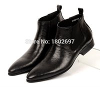 ostrich skin shoes - New Autumn Genuine Leather Ostrich skin Men Ankle Boots Pointed Toe Slip On Botas Tenis Masculino Wedding Dress Shoes Flats