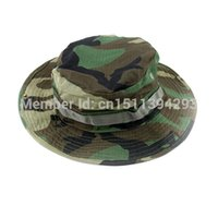 Wholesale Woodland Camo Outdoor Cap - Wholesale-Military Army Round-brimmed Hat Sun Bonnet Woodland Camo Outdoor Cap for Fishing Hiking camping