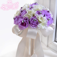 Wholesale Artificial Crystals For Decoration - 2015 Lilac Bridal Wedding Bouquet Wedding Decoration Romantic Artificial Bridesmaid Flower Crystal Pearl Silk Rose Bouquet for Wedding Bride