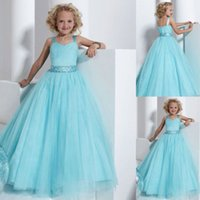 Wholesale Size 13 Wedding Gown - Sky Blue Girls Pageant Dresses Size 2-14 Toddler Pageant Dress With Crystals Belt Kids Ball Gowns Plus Size Wedding Flower Girls Gowns J814