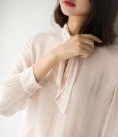 Wholesale Georgette Shirts - High quality silk georgette tie long sleeved shirt woman loose slim elegant ladies shirt female backing