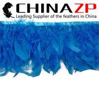 ingrosso migliori tacchini-CHINAZP Crafts Factory 10 yards / lot 10 ~ 15 cm (4 ~ 6inch) in larghezza Migliore qualità tinto blu turchese tacchino Chandelle Feather Trim