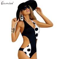 b778b1d639f4 Atacado-Gamiss 2017 Hot Sales Sexy Dot Imprimir Spliced Tipo Mulheres One  Piece Swimwear Verão Praia Maiô Swimsuit Halter Monokini