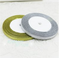 Wholesale House Double - 15% off on sale 1 4'' (6mm) 25yards ROLL Double Face satin ribbon gold and silver ribbon Christmas packaging ribbon wedding decoration