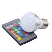 Wholesale color changing led spot lights resale online - AC85V V W E27 E14 Color Change LED RGB Magic Light Dimmable Lampada Bulb Spot lamp lighting key IR Remote Controller