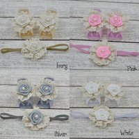 Wholesale Barefoot Trail - Wholesale-24set lot Trail Order Baby Barefoot Sandals with single Flower and Matching thin Elastic HeadbandQueenBaby