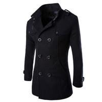 şık erkekler trençkotu toptan satış-Sonbahar-Moda Kış Erkek Ceket Ve Mont Duffle Coat Şık İngiliz tarzı Tek Göğüslü Erkek Bezelye Ceket Yün Trençkot