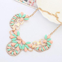 Collier Gros Bijoux En Gros Pas Cher-Acrylique Gem Punk Shourouk Gold Choker Collar Chunky Statement Colliers Pendentifs 2014 New Fashion Jewelry Women Wholesale N112