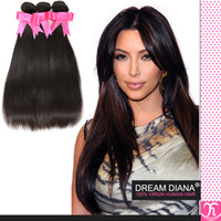 Hjhair 5a Cheveux bruns cheveux bruns 4pcs / lot Virgin Brazilian Hair Bundles Extensions de cheveux droites non traitées tissage de cheveux grossistes