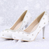 Wholesale White Closed Toe Satin Heels - Closed Toe White Satin Wedding Shoes Rhinestone Prom Party High Heels Luxurious Top Quality 8cm Heels Custom Handmade Platforms