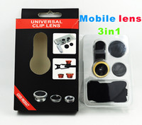 Wholesale Eye Lens Iphone - universal mobile lens with clip 3 in 1 fish eye wide micro lens colorful for iphone samsung htc smart phone to take pictures
