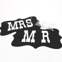 düğün fotoğraf kulübesi pabucu tabelaları toptan satış-DIY Siyah Mr Mrs Kağıt Kurulu + Şerit Burcu Photo Booth Dikmeler Düğün dekorasyon Parti TT82