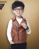 Wholesale Korean Waistcoats Boys - 2015 New Children Boys Korean Style Autumn Turn-down Collar PU Leather Waistcoat Kids Fashion Waistcoat B3722