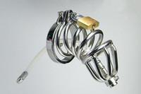 anneau bdsm tube achat en gros de-Tube de silicone de dispositif de chasteté à double anneau en acier inoxydable avec anneau barbelé anti-perte de poids Cage Cage Mâle Sonde Uretrale