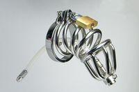 anillo de tubo bdsm al por mayor-Tubo de silicona de dispositivo de castidad de anillo doble de acero inoxidable con púas Anillo anti-vertimiento Jaula de gallo Masculino uretral BDSM Juguetes sexuales