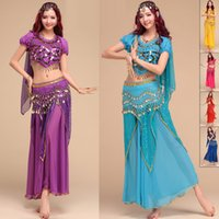 Wholesale Purple Belly Dance Top - 2015 Egyptian Belly Dance Costume 4Pcs Top&Skirt&Waist Chain&Veil Women'S Dance Clothing Bellydance Costume Professionals DQ1028