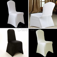 Lycra black chair covers for weddings - Hot sale ivory Black White Spandex Stretch Chair Cover Lycra For Wedding Banquet Party Hotel Decorations COVER