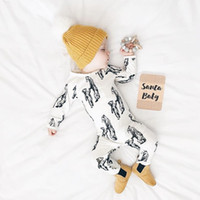 Wholesale Christmas Sleepwear - 2017 Ins animal Jumpsuit Newborn Baby boy clothing Sleepwear Long sleeve Cartoon Mother baby Bear Print Cotton Autumn Winter 0-12months