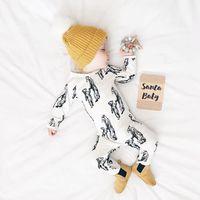 ropa de dormir de invierno recién nacido al por mayor-2017 Ins animal mono Bebé recién nacido ropa de dormir Ropa de manga larga Dibujos animados Madre bebé Oso Imprimir Algodón Otoño Invierno 0-12 meses