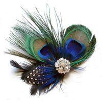 tüy saç klipleri düğün toptan satış-Kadınlar Lady Güzellik 1set için Toptan-Best Deal İyi Kalite Peacock Feather Köpüklü Rhinestones Gelin Düğün Saç Klip Baş Aksesuar