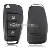 Wholesale Audi Key Remote Button - 3 BUTTON FOLDING FLIP REMOTE KEY SHELL CASE FOB FOR AUDI A2 A3 A4 A6 A6L A8 TT small order no tracking