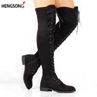 Sexy Lace Up Over Knee Boots Mujeres Botas Pisos Zapatos Mujer Square Heel Rubber Flock Boots Botas Winter Plus Size 34-43 RD401446