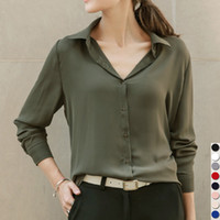 Wholesale Ol Style Long Sleeve Chiffon - Wholesale- 2017 Hot Sale Women Shirts Blouses Long Sleeve Turn-Down Collar Solid Ladies Chiffon Blouse Tops OL Office Style Chemise Femme