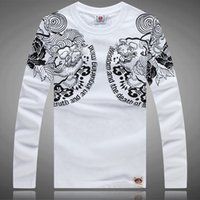 Wholesale Black Art Tee Shirts - 2015 New Men's Printing T-Shirts Men Casual Floral Tee Long Sleeve T Shirt Japan Blossom Ukiyoe Tattoo Art Design BRM Slim Fitted Hip Rock