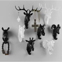 Wholesale Kitchen Ornament - Pure Color Black White Gold Animal Head Hook Resin Craft Key Cap Cothes Claw 3D Animal Mural Decorative Hook Ornament Hanger CCA7935 50pcs