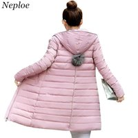 Neploe Slim Long Coat 2017 New Lady Winter Warm Hooded Jacket Ball Top Design Solid Ultralight Down Parkas 34006