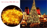 Al por mayor-5pcs impermeable al aire libre de interior LED Fairy String Light 100M 600 LED fiesta de Navidad de la boda Año Nuevo Home Tree Decoration 220v