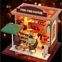 Wholesale Diy Coffee Lamp - Free Shipping Scale Model Building Toy DIY Free Time Coffee Shop With LED Lamps & Music,Assembly Wooden Miniature Dollhouse Toy