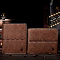 Wholesale Top Wallet Brands For Men - Europe America fashion Retro men wallet genuine leather with PU Top Purse brand quality card holders wallets for men 5 colors free shipping