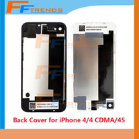 Wholesale Gsm For House - Back Glass Battery Housing Door Cover Replacement Part GSM for iPhone 4   4 CDMA   4S Black White Color Free Shipping
